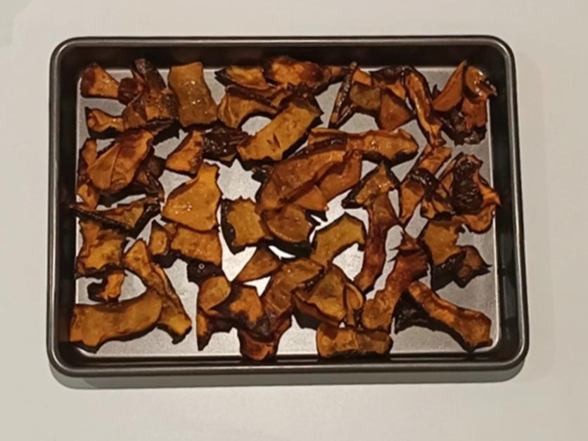 Pumpkin skin chips and roast pumpkin seeds