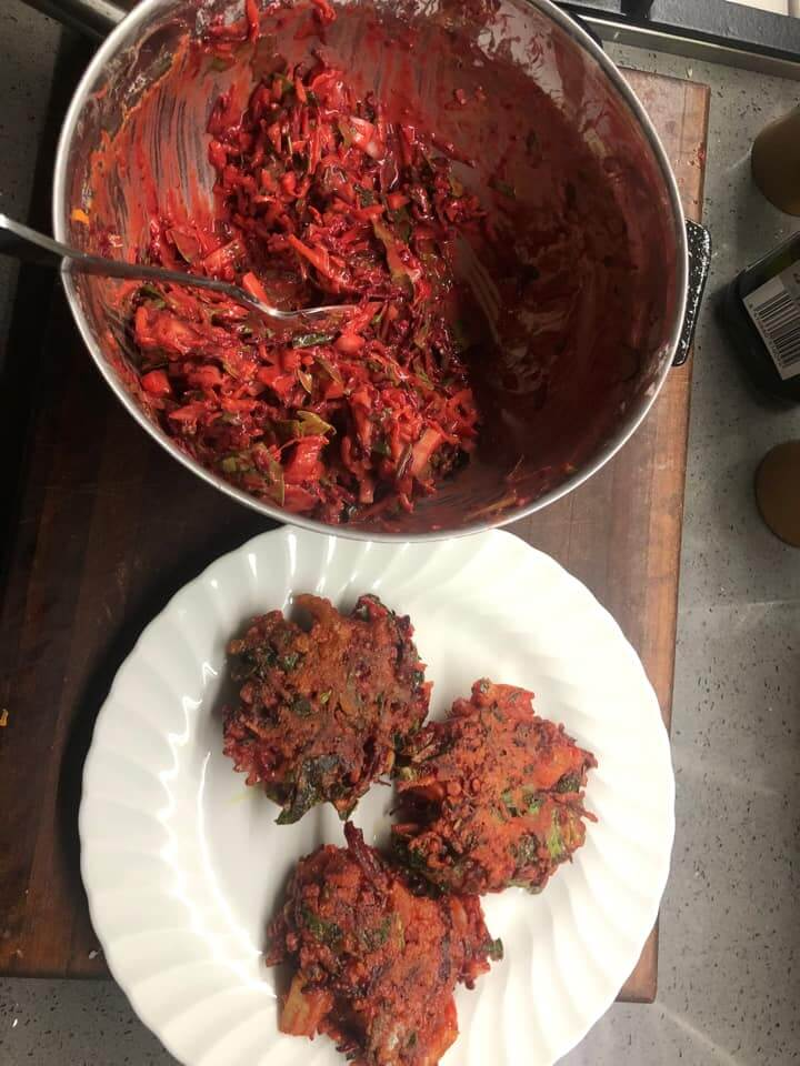 Beetroot and silverbeet fritters